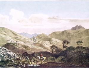 Pintura retratando a lavra do ouro em primeiro plano e Vila Rica ao fundo. (Rugendas, 1820-1825)
